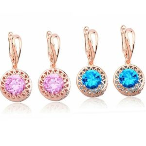 14k Gold Plated Pink,Green Cubic Zirconia Earrings